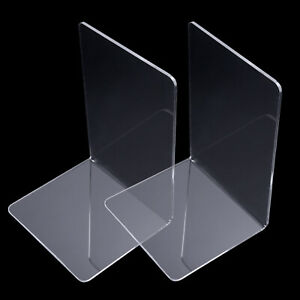 Plastic Clear Acrylic Bookend Organizer Stand Book Shelf Rack Holder Quality New