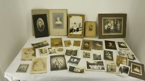30 ANTIQUE PHOTOGRAPHS Large amp; Small VICTORIAN to 1930's Assorted Originals Bamp;W $28.91