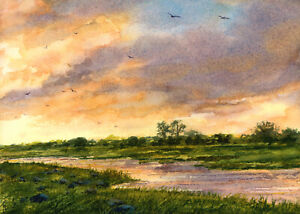 Down By the River NEW ORIGINAL WATERCOLOR Landscape by Linda Henry FREE MAT $75.00
