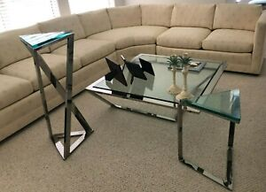 FURNITURE CHROME AND GLASS TABLES
