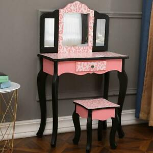 Vanity Table Set Makeup Dressing Table Gift For Kids Girls Stool Mirror Pink