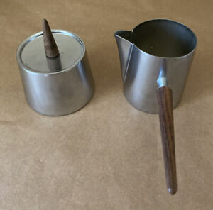 Vintage Mid Century Stainless and Teak Sugar and Creamer Made in Italy