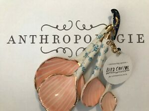 ANTHROPOLOGIE Ceramic Seashell Measuring Spoons Set NWT