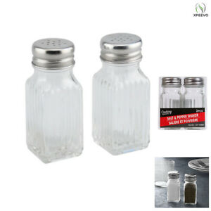 Salt and Pepper Shaker Set Clear Glass Cooking Concepts 2 PACK