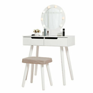 2 Drawers Makeup Vanity Table Set with Lights Mirror 3 colored Dressing Desk
