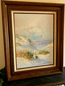 Hand painted girl by the sea portrait oil painting art on canvas Wood Frame $75.00