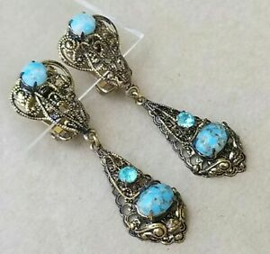 Vintage Antique Signed Czechoslovokia Picasso Blue Glass Rhinestone Earrings $49.99