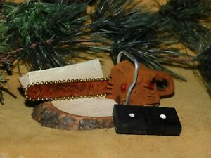 Cottonwood Bark Small Chainsaw Wood Carving Rustic Mountain Chain Saw Ornament $25.95