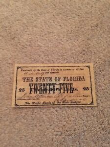1863 Civil War Currency Florida Confederate .25 Cents*REPRODUCTION* $5.97