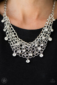 Paparazzi Fishing for Compliments Necklace Silver rhinestone blockbuster short