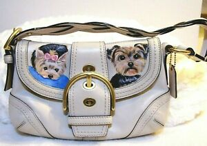 Yorkie hand painted original painting medium Coach bag leather purse OOAK $175.00