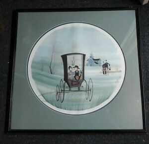 SIGNED P. BUCKLEY MOSS LITHOGRAPH TIMELESS TREASURES FRAMED and matted AMISH $85.00