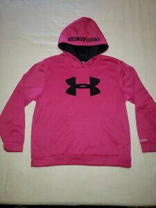 Girls Pink Under Amour Hoodie Youth Large $18.00