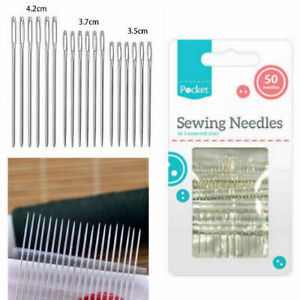 Sewing Needles 50 Pack Assorted Sizes Hand Easy Thread Big Eye Sets Large Pack GBP 1.69