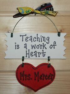 PERSONALIZED Teacher Gift Christmas Decoration Ornament Wall Hanging School $4.50