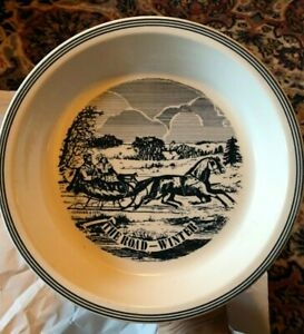 """Currier and Ives The Road in Winter Pie Plate Blue History Printed 10"""" Vintage $19.95"""