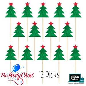 CHRISTMAS TREE PARTY AND FOOD PICKS Christmas Food Toppers Decorations 12 Picks GBP 3.49