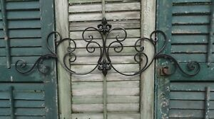 Metal Wall Decor Fleur de lis Iron work Shabby Chic Home Garden $35.50