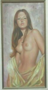 LEO JANSEN Nude Woman Large Oil Painting Framed signed front and back $1095.00