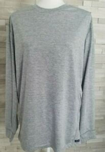 Smiths Workwear Mens Dri Fit Shirt Long Sleeve Gray Crew Neck Size Large $15.00