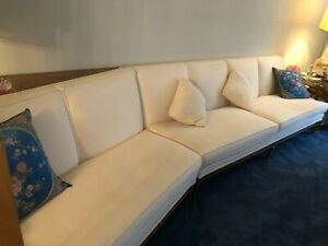 Large Mid Century Modern Wood and Fabric 2 iece Sectional Sofa Couch amp; Pillows $995.00