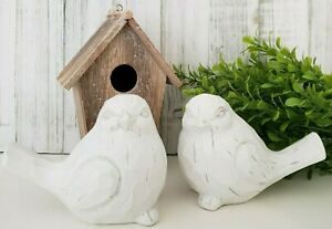 Birch amp; Bliss Chubby White Modern Farmhouse Birds Set of 2 Rustic Distressed $22.99