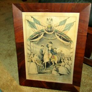 ORIG. CURRIER amp; IVES quot;WASHINGTON#x27;S RECEPTION BY LADIESquot; PRINT ORIG.WOOD FRAME $125.00