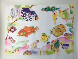 Tracy Ann Taylor Signed Lithograph quot;Fishscapesquot; 1988 Never Framed Tropical $80.00
