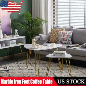 2pcs Nordic Simple Wrought Iron Golden Feet Marble Coffee Table Side Holder Set