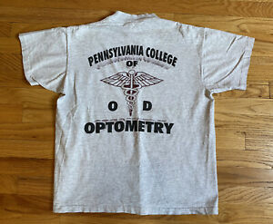 Vintage 90s Pennsylvania College of Optometry Gray T Shirt Large Medium $21.95