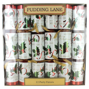 Pudding Lane Antique with White Holly Christmas Crackers 12 pack $16.50