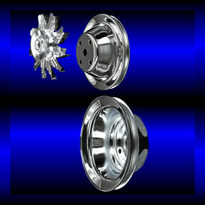 Chrome small block Chevy pulley set 3 pulleys long pump SBC single belt alt only $69.99