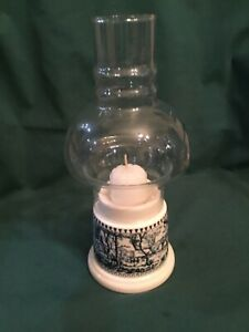 RARE MUSEUM MINT CANDLE LAMP HURRICANE CURRIER AND amp; IVES ROYAL CHINA VINTAGE $1499.00