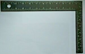 Black Metal Ruler Scale inches Drafting Architect Vintage Japan Right Angle Tool $9.99