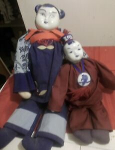 Vintage Chinese Dolls Blue and White China 24quot; amp; 16quot; $35.00
