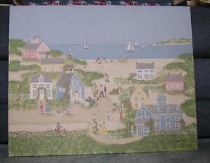 VILLAGE NAUTICAL COAST BEACH FOLK ART OCEAN GARDEN SAIL BOATS VICTORIAN PAINTING $26800.00