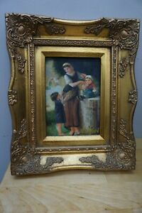 LADY AND HER CHILDREN OIL PAINTING SIGNED BY A. RICHARD $75.00