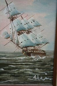 GALLION WAR SHIP CLIPPER SHIP OIL PAINTING SIGNED $40.00