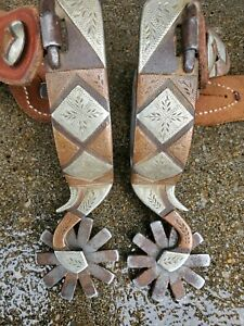 Used Handmade Silver Spurs Double Mounted Spurs Marked by Maker