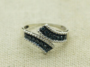 Designer SJ Sterling Silver Natural Blue Diamond Bypass Band Ring Size 9