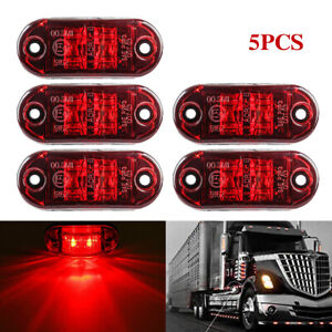 5x Red LED Car Truck Trailer RV Oval 2.5quot; Side Clearance Marker Light For Toyota