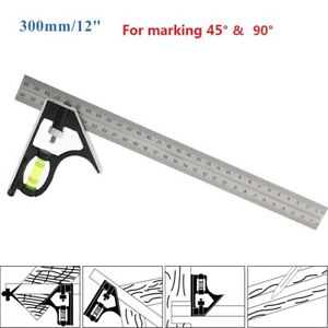 Multifunction Combination Set Square Ruler W Level 300mm 12inch Marking Scribing $9.82