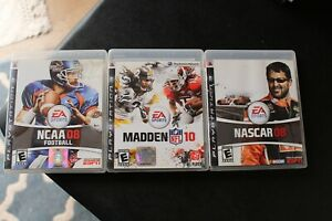PS3 Sports Football Nascar 3 Game Lot NCAA 08 Madden 10 Nascar 08 Tested