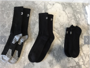 NEW MENS UNDER ARMOUR SOCKS BLACK CREW SUPER CREW NO SHOW SIZE 8 12 YOU PICK $3.91
