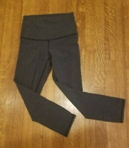 Lululemon Wunder Under Black Grey Heathered Pima CottonJersey Crop Leggings 2 4 $27.20