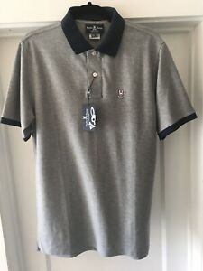 NWT Unique Large Psycho Bunny Men Grey Blue Polo Shirt Tynemouth Size 6 Gray $58.95