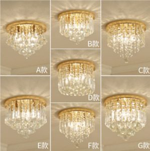 Mini Chandelier Crystal Pendant Light Flush Mount Small Ceiling Lighting Gold $59.99