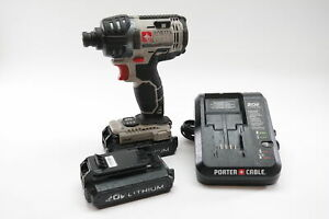 Porter Cable Pcc640 20V MAX 1 4quot; Hex Impact Driver with 2 Batteries and Charger $54.99