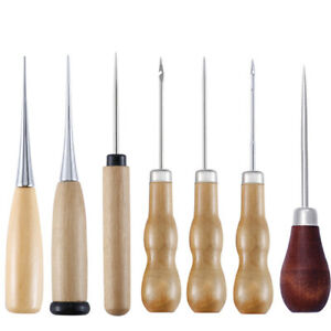 Leather Sewing Awl Wood Handle Drillable Awl Punching Hole Maker Stitching Tool $14.99
