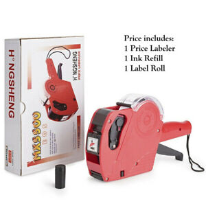 MX5500 EOS 8 Digits Price Tag Gun Labeler Labeller Includes Labels Ink Refills $12.99